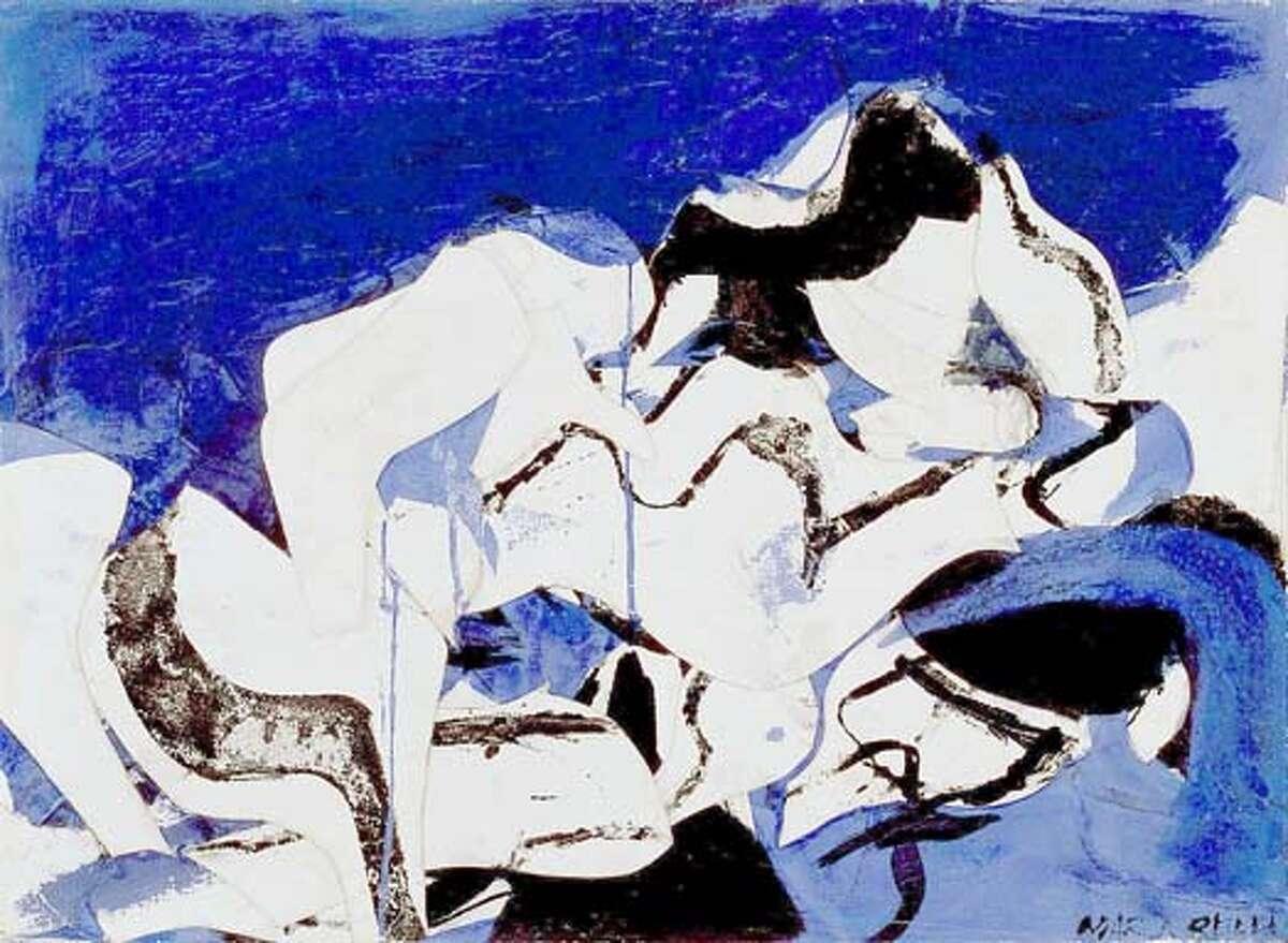 Conrad Marca-Relli, MR-6, 1958, collage and oil on canvas, 20 1/4 x 27 1/2