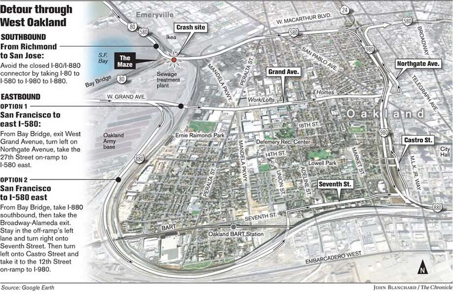 Detour through West Oakland. Chronicle graphic by John Blanchard