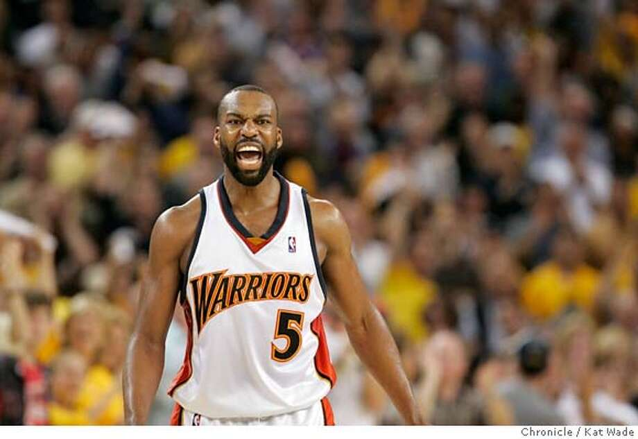 WARRIORS_GAME4_0268_KW.JPG  The Warrior's Baron Davis reacts during the 3rd quarter when the Golden State Warriors beat the Dallas Mavericks in playoff game #4 at Oracle Arena in Oakland on Friday April 29, 2007 . Warriors won 103 to 99.  Kat Wade/The Chronicle Photo: Kat Wade