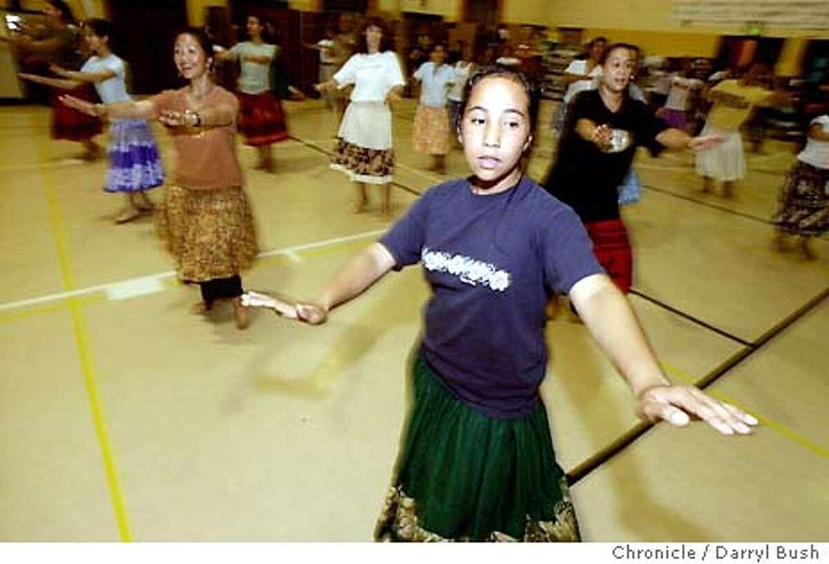 aloha118_db.jpg Rebekah Samorano of Daly City, 12, dances during a hula class taught by Patrick Makuakane at Daniel Webster Elementary auditorium. 7/31/03 in San Francisco. DARRYL BUSH / The Chronicle