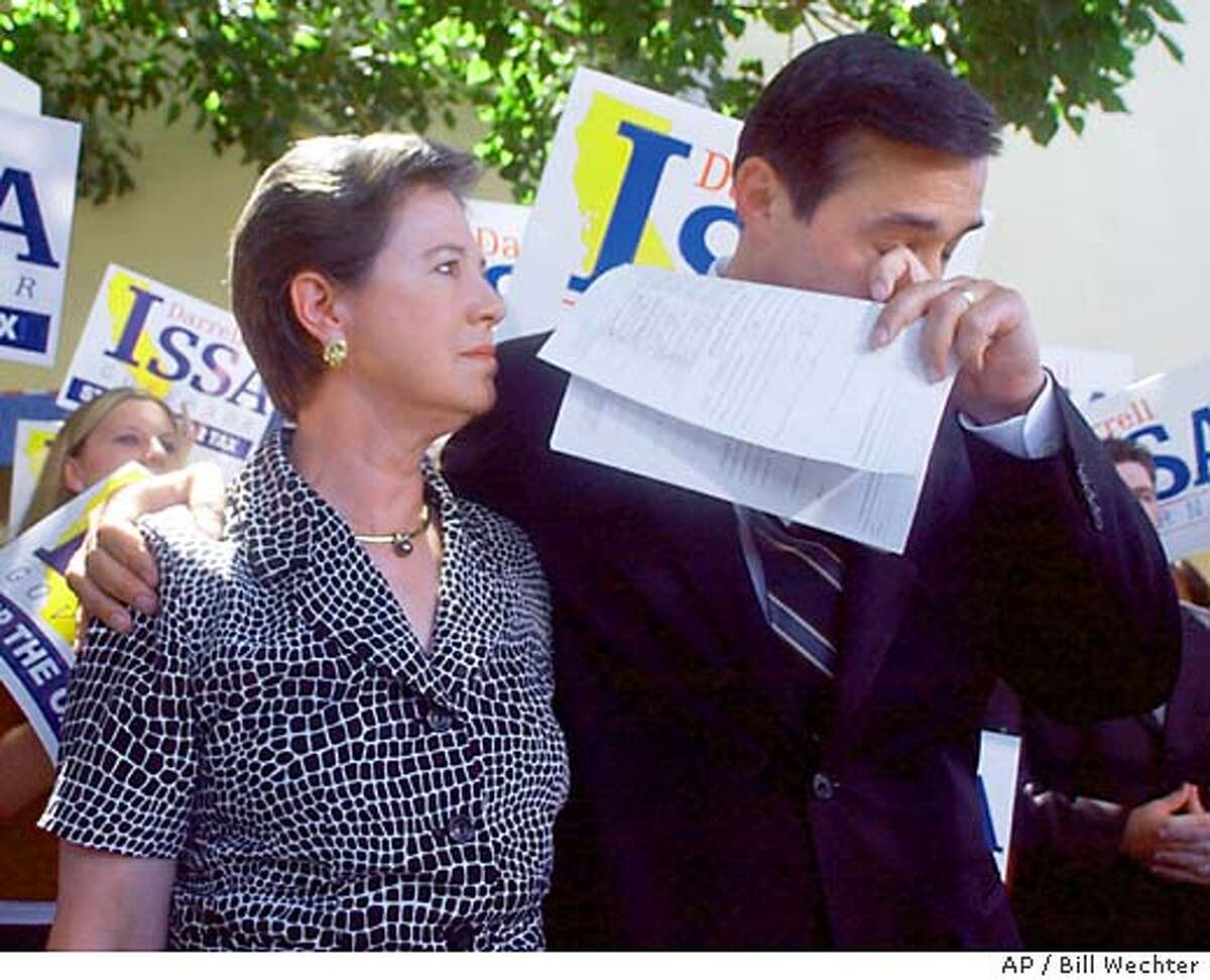 With his wife, Kathy, at his side, and candidate registration papers in hand, Congressman Darrell Issa breaks down during a news conference in front of the San Diego County Registrar of Voters Thursday, Aug. 7, 2003, in San Diego, as he announces he will not be running for governor of California. (AP Photo/North County Times, Bill Wechter)