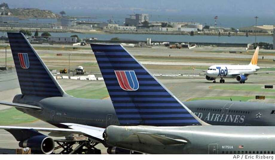 ** FILE ** In a file photo a pair of United Airlines' Boeing 747's are parked at the international terminal as a United Airlines' Ted airplane passes in the background at San Francisco International Airport, Wednesday June 22, 2005. A federal bankruptcy judge on Friday, July 15, 2005, approved United Airlines' request for an additional $310 million in loans as the carrier works on its plan to emerge from bankruptcy this fall. (AP Photo/Eric Risberg) Ran on: 08-03-2005  United Airlines has delayed takeoff out of bankruptcy. JUNE 22, 2005, PHOTO Photo: ERIC RISBERG