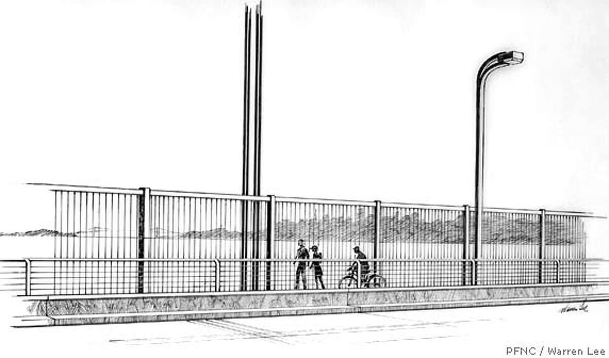Anshen + Allen developed this proposal under contract with the Bridge District. The design was originally published in the Chronicle, October 12, 1973 and was praised at the time by columnist Herb Caen. PFNC commissioned Marin artist Warren Lee to revise the illustration with the pedestrian rail recently installed on the Bridge. Credit Warren Lee/PFNC