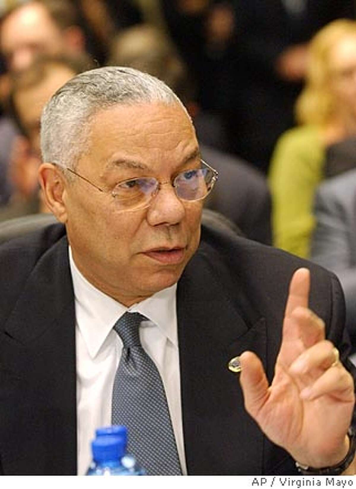 U.S. Secretary of State Colin Powell gestures during a meeting of the Organization of Security and Cooperation in Europe (OSCE) at the Palace of Culture in Sofia, Bulgaria, Tuesday Dec. 7, 2004. Powell rejected on Tuesday Russian charges the West is engaging in political manipulation to expand its influence in Ukraine and other former Soviet republics. (AP Photo/Virginia Mayo) Ran on: 12-08-2004 Secretary of State Colin Powell: We remain concerned about developments in Russia. Ran on: 12-08-2004 Colin Powell