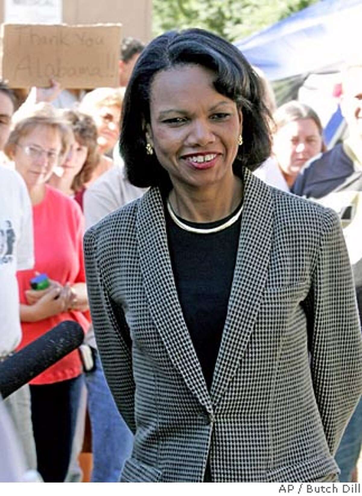 Secretary of State Condoleeza Rice visits Hurricane Katrina victims staying at the Oak Mountain State Park in Pelham, Ala., on Sunday, Oct. 23, 2005 (AP Photo/Butch Dill)
