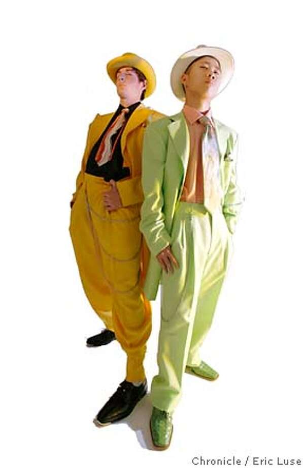 zootsuit0120_el.JPG Zootsuits are making a hit among young people. Niko Vukasin - bright yellow zoo suit Darryl Yip - celery green zoo suit Photographer:  Eric Luse / The Chronicle names cq from source  Myles Ryan Nick Ryan  Niko Vukasin  Darryl Yip  Harry Ritter MANDATORY CREDIT FOR PHOTOG AND SF CHRONICLE/NO SALES-MAGS OUT Photo: Eric Luse