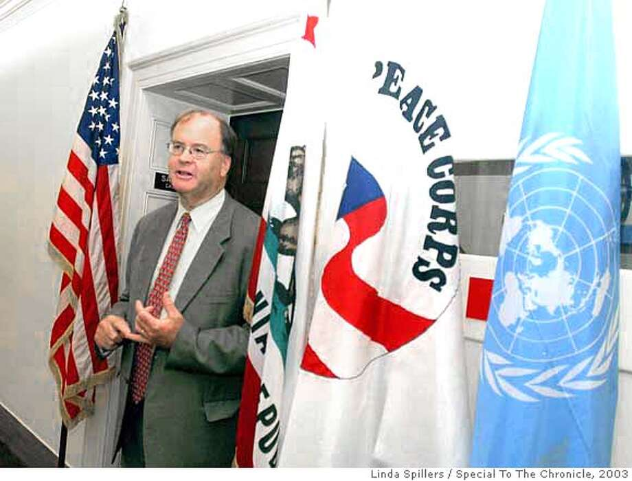 FARR-1 Rep. Sam Farr, talks about the United Nations flag outside his office door, Tuesday, May 20, 2003 on Capitol Hill. Farr is the only Congressman to have a flag of the United Nations outside his door. (AP Photo/Special to San Francisco Chronicle, Linda Spillers); 5/20/03 in WASHINGTON. Linda Spillers / Special To The Chronicle Rep. Sam Farr, D-Carmel, says deep-sea research deserves the same attention that space exploration gets. CAT MANDATORY CREDIT FOR PHOTOG AND SF CHRONICLE/NO SALES-MAGS OUT Nation#MainNews#Chronicle#12/11/2003#ALL#5star##0421216352 Photo: Linda Spillers