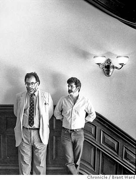 Francis Ford Coppola and George Lucas in the entryway of a mansion on Skywalker Ranch. Photo: BRANT WARD