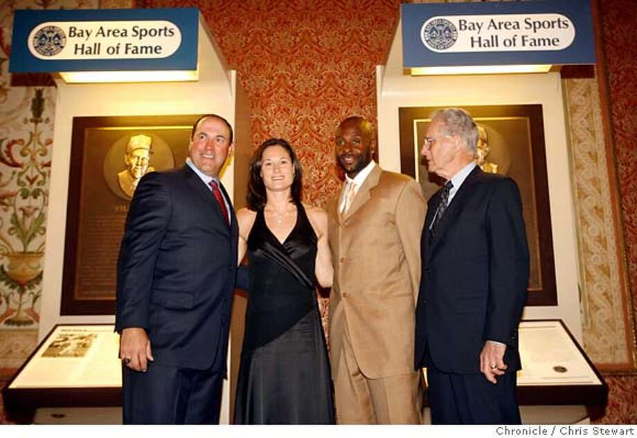 bashof_0180_cs.jpg Event on 4/26/07 in San Francisco.  Four Bay Area stand out athletes pose for the media - Will Clark (left to right), Jennifer Azzi, Jerry Rice and Jerry Coleman (all cq) at the Westin St. Francis Hotel before their induction ceremony into the Bay Area Sports Hall of Fame Thursday night, April 26, 2007. Chris Stewart / San Francisco Chronicle Will Clark, Jennifer Azzi, Jerry Rice, Jerry Coleman  Ran on: 04-27-2007  Will Clark (left), Jennifer Azzi, Jerry Rice and Jerry Coleman were inducted into the Bay Area Sports Hall of Fame on Thursday. Photo: Chris Stewart