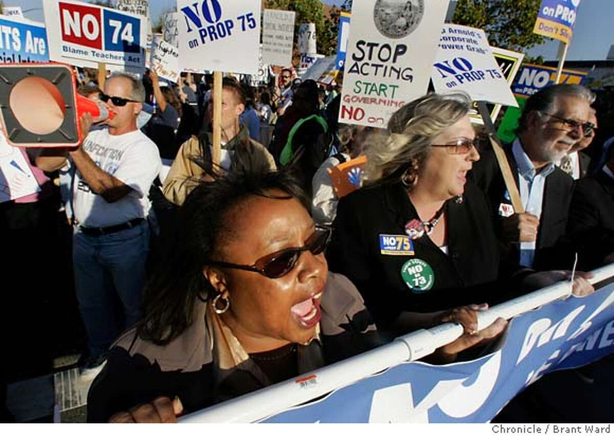 debate_protest717_ward.jpg Damita Davis-Howard, foreground, a labor leader led the cheer against Arnold Schwarzenegger as they marched down Civic Street Monday. At a debate on the upcoming election, almost 1000 protesters gathered in front of the Dean Lesher convention center (CHK SPELLING) in Walnut Creek to complain about the Governor's initiatives. 10/24/05