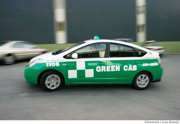 Mark Gruberg (driver, founder, board member) drives the first Green Cab through the yard.  Green Cab is a new cab company forming in SF using only hybrids and alternative fuel vehicles.  Photo taken on 4/25/07, in San Francisco, CA. Photo by Lea Suzuki/ The Chronicle (Mark Gruberg)cq Photo: Lea Suzuki