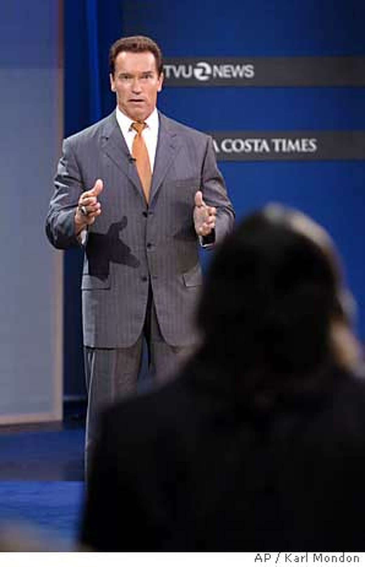 California Governor Arnold Schwarzenegger responds to questions during the forum at the Dean Lesher Regional Center for the Arts in Walnut Creek, Calif., Monday, Oct. 24, 2005. (AP Photo/Karl Mondon, Pool)