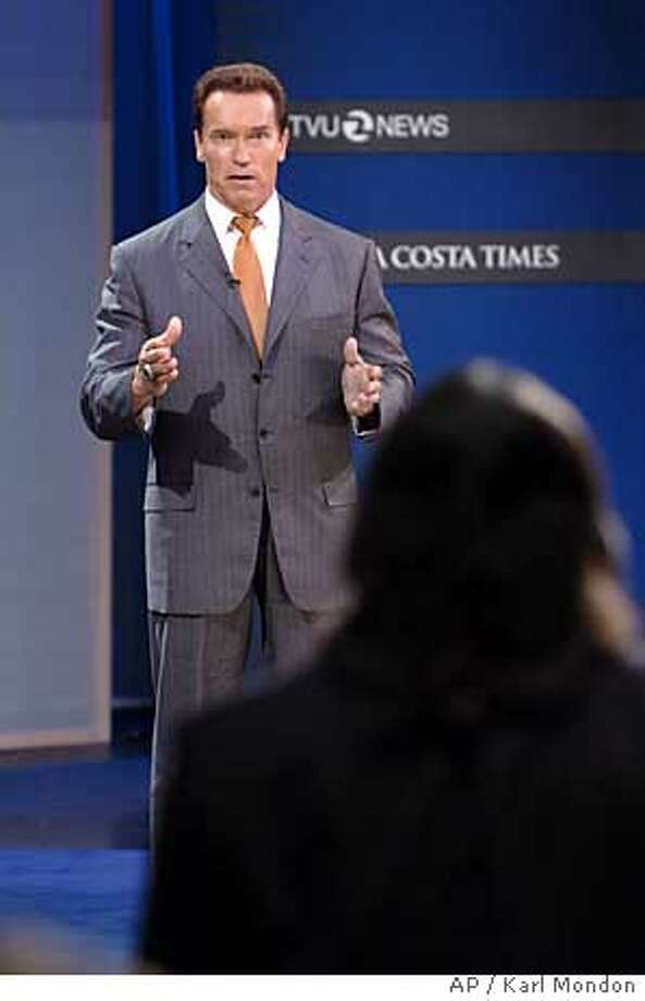 California Governor Arnold Schwarzenegger responds to questions during the forum at the Dean Lesher Regional Center for the Arts in Walnut Creek, Calif., Monday, Oct. 24, 2005. (AP Photo/Karl Mondon, Pool) Photo: KARL MONDON