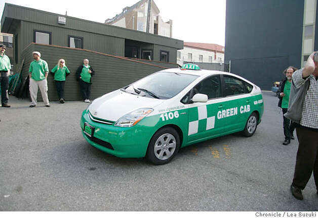 The Green Cab sits in the yard between shifts.  Green Cab is a new cab company forming in SF using only hybrids and alternative fuel vehicles.  Photo taken on 4/25/07, in San Francisco, CA. Photo by Lea Suzuki/ The Chronicle ()cq Photo: Lea Suzuki