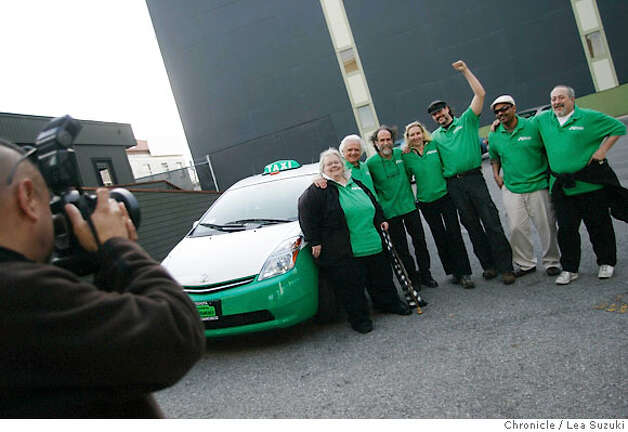Villagomez takes a group picture after the first shift of the Green Cab.  From left: Joe Villagomez (photographer), Ruach Graffis; Joe Mirabile; Mark Gruberg, Fox; Thomas George-Williams; Micheal Pegues; and Mort Weinstein.  Green Cab is a new cab company forming in SF using only hybrids and alternative fuel vehicles.  Photo taken on 4/25/07, in San Francisco, CA. Photo by Lea Suzuki/ The Chronicle ()cq Photo: Lea Suzuki