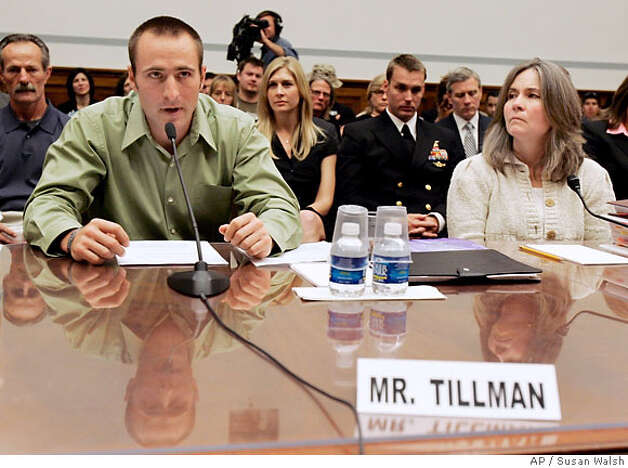 Kevin Tillman, brother of NFL star-turned-Army Ranger Pat Tillman who was killed by friendly-fire in Afghanistan, testifies before the House Oversight and Government Reform hearing on Capitol Hill, Tuesday, April 24, 2007 as his mother Mary Tillman looks on at right. (AP Photo/Susan Walsh) Photo: SUSAN WALSH