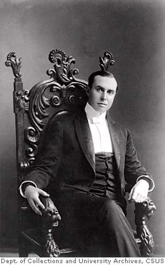 Photo of Goethe C.M. (Charles Matthias) sitting in Chair, 1875-1966. The photographs are from the Charles M. Goethe papers, 1907-1970�in the Department of Special Collections and University Archives, Library, California State University, Sacramento. Photo: California State University, Sac