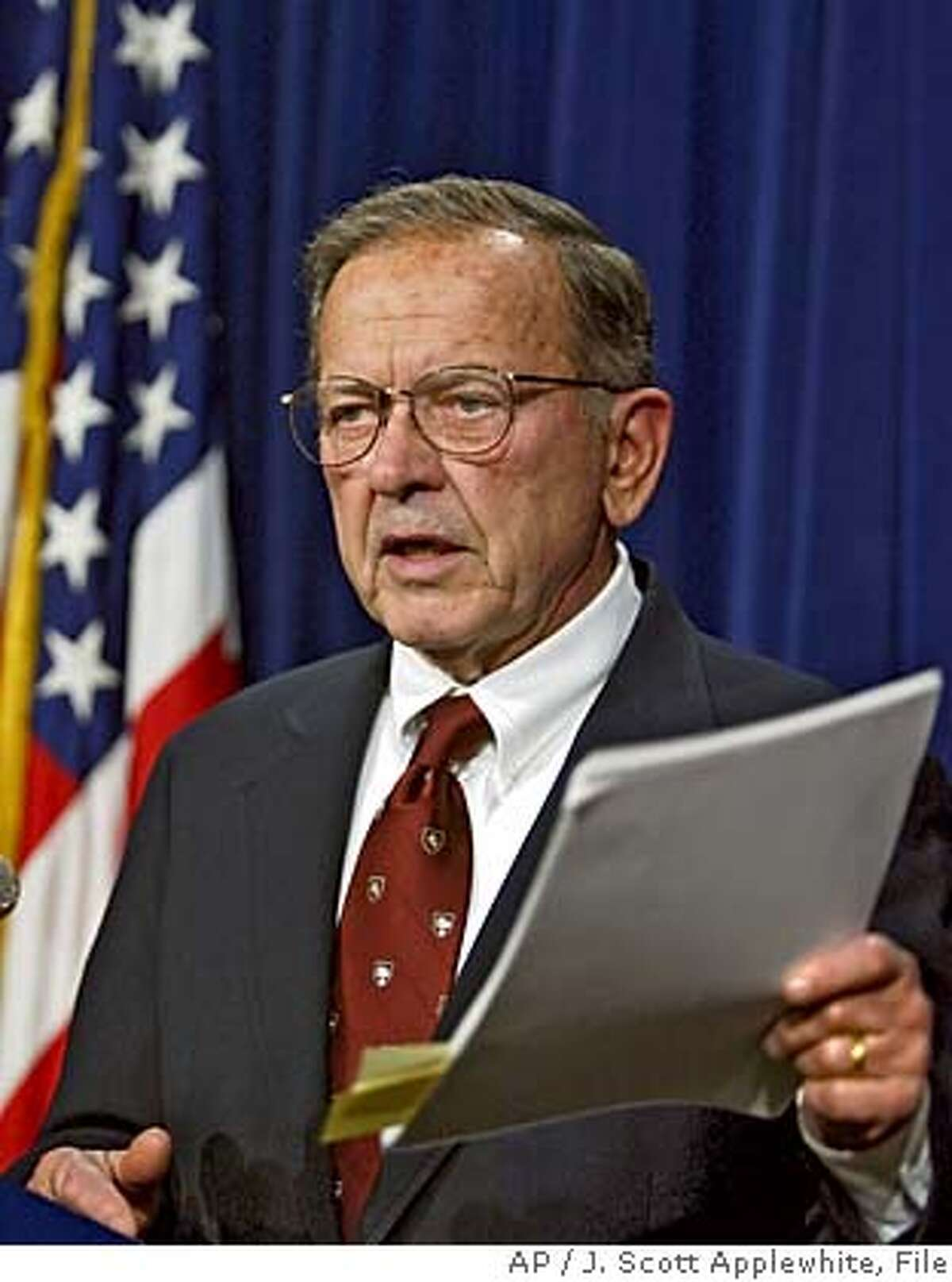 ** FILE ** Sen. Ted Stevens, R-Alaska gestures during a Capitol Hill news conference in this March 4, 2003 file photo. Between Stevens and Sen. Robert Byrd, D-W.Va., they have spent nearly 80 cantankerous years in the Senate. Neither minds intimidating a colleague, yet a deferential bond was forged long ago. (AP Photo/J. Scott Applewhite, Files) Sen. Robert Byrd MARCH 4, 2003 FILE PHOTO