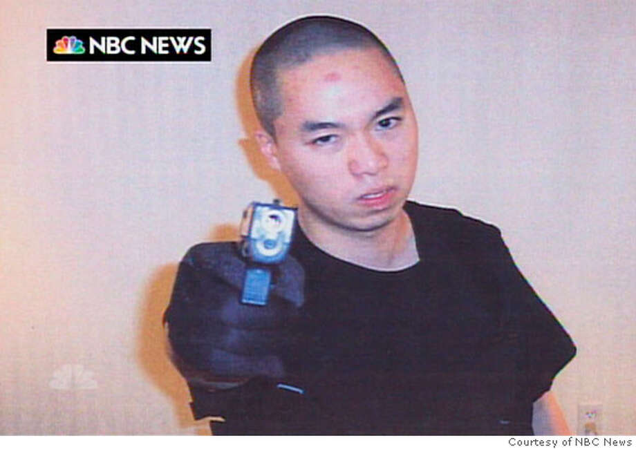 An image that NBC News say they received from Cho Seung-Hui, the shooter in the Virginia Tech shootings, is seen as it is aired on the NBC Nightly News, April 18, 2007. The gunman who went on a deadly rampage at Virginia Tech university this week paused between shootings to mail a rambling account of grievances, photos and videos to NBC, the network said. REUTERS/Courtesy of NBC News/Handout (UNITED STATES). EDITORIAL USE ONLY. NOT FOR SALE FOR MARKETING OR ADVERTISING CAMPAIGNS. NO ARCHIVES. NO SALES. EDITORIAL USE ONLY. NOT FOR SALE FOR MARKETING OR ADVERTISING CAMPAIGNS. NO ARCHIVES. NO SALES.  Ran on: 04-19-2007  The envelope that NBC says it received from Ismail Ax, alter ego of Cho Seung-Hui, is shown in a photo copy.  Ran on: 04-19-2007  The envelope that NBC says it received from Ismail Ax, alter ego of Cho Seung-Hui, is shown in a photo copy. Photo: HO