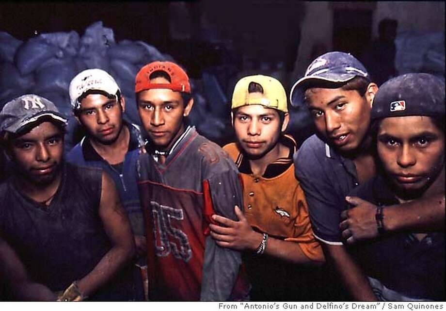 "Here's the caption from the book:  ""Delfino Ju�rez, third from the left, as a construction worker with the younger Xocotla generation who followed him to Mexico City.""  Photo by Sam Quinones / From ""Antonio's Gun and Delfino's Dream""  FOR USE WITH BOOK REVIEW ONLY Photo: Sam Quinones"