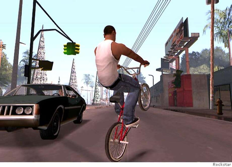 (NYT27) UNDATED -- Nov. 10, 2004 -- CIR-GAME-THEORY-2 -- It�s still a thug�s life in the latest offering in the Grand Theft Auto series, SAN ANDREAS, hugely popular since 2001. CJ pulling a wheelie on the BMX bike down in East Los Santos. Full 360 degree spins and flips are possible on the bike. (The New York Times) Ran on: 11-19-2004  This GTA: San Andreas hood is a take on Pacific Heights. XNYZ Photo: The New York Times
