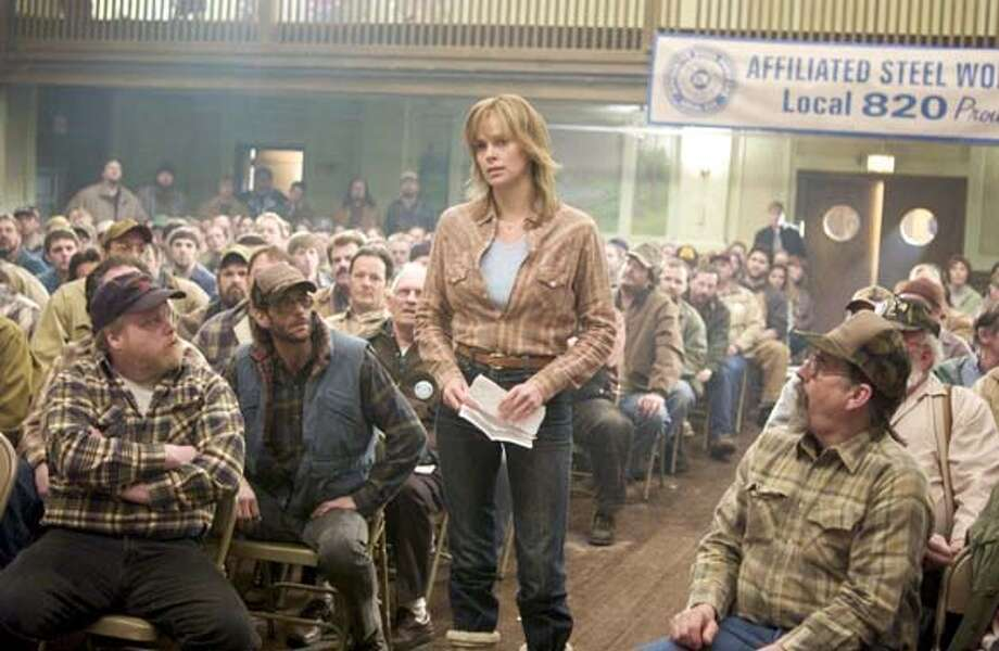 NORTH21 Josey Aimes (CHARLIZE THERON) prepares to address members of her union in Warner Bros. Pictures� drama, �North Country.� FRANCES McDORMAND also stars. Photo: -