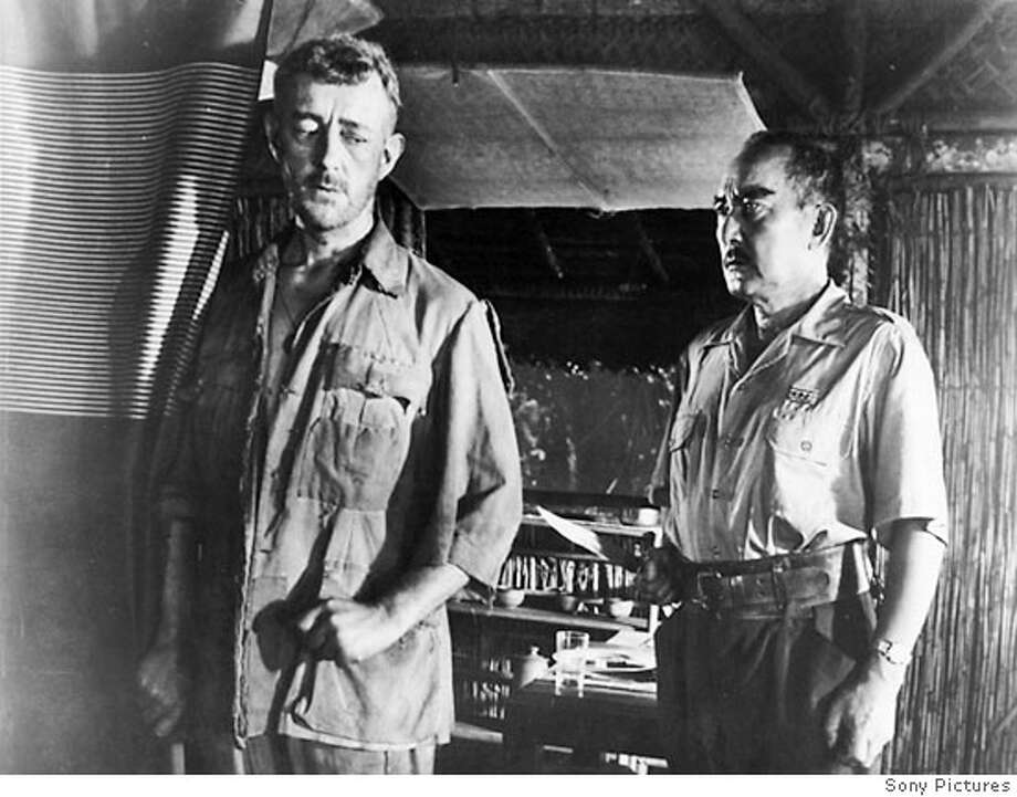 "SESSUE HAYAKAWA WITH ALEC GUINNESS IN ""THE BRIDGE ON THE RIVER KWAI"" 1957 Photo: Chronicle Archives"