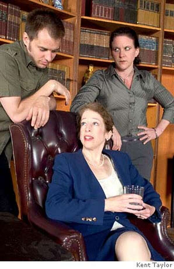 Past Perfect press photo of Clayton B. Hodges*, Adrienne Krug (sitting), and Libby O'Connell Photos by Kent Taylor Photo: Photos By Kent Taylor