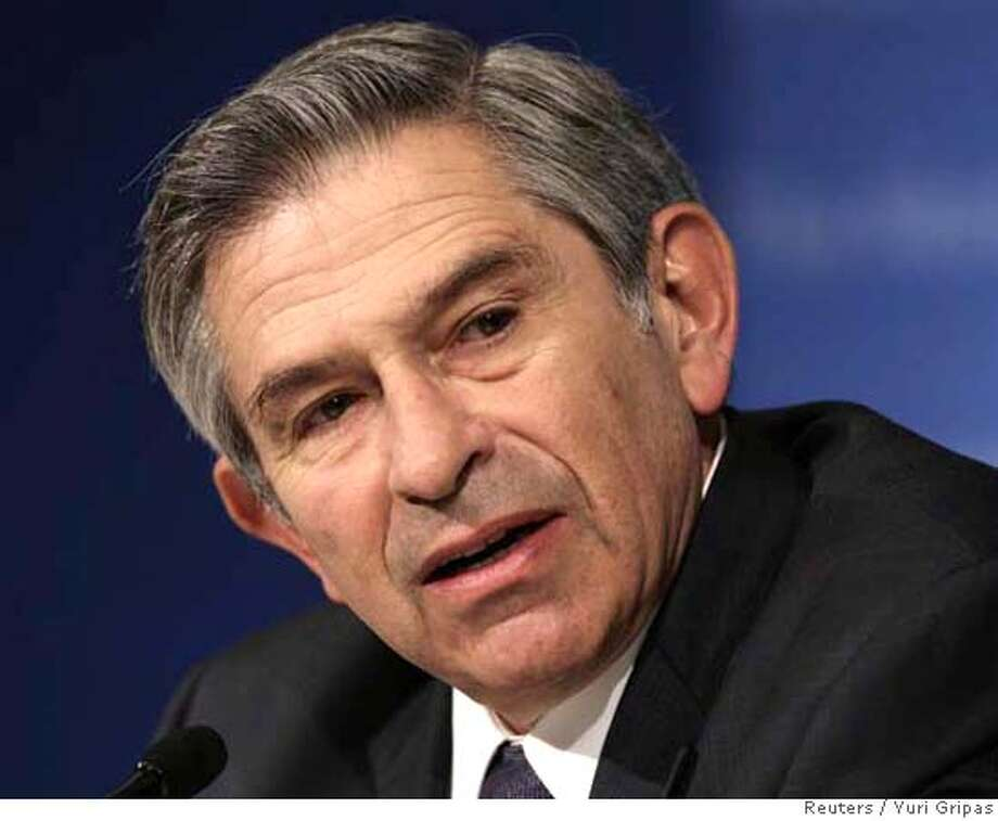 "World Bank President Paul Wolfowitz speaks at a news conference at the International Monetary Fund headquarters building in Washington April 12, 2007. Wolfowitz said on Thursday he made ""a mistake for which I am sorry"" over his handling of the promotion and pay increase of a staff member, Shaha Riza, whom he is dating. REUTERS/Yuri Gripas (UNITED STATES) 0 Photo: YURI GRIPAS"