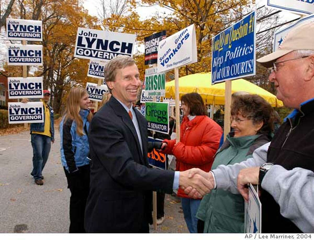 New Hampshire Democratic gubernatorial candidate John Lynch of Hopkinton, N.H. shakes hands with campaigners outside Hopkinton Town Hall before going inside to vote Tuesday, Nov. 2, 2004. (AP Photo/Lee Marriner) Ran on: 11-04-2004 INDIANA Mitchell Daniels (R) Ran on: 11-04-2004 Ran on: 04-20-2007 Gov. John Lynch had declined for weeks to express his views on the same-sex union bill. Ran on: 04-20-2007