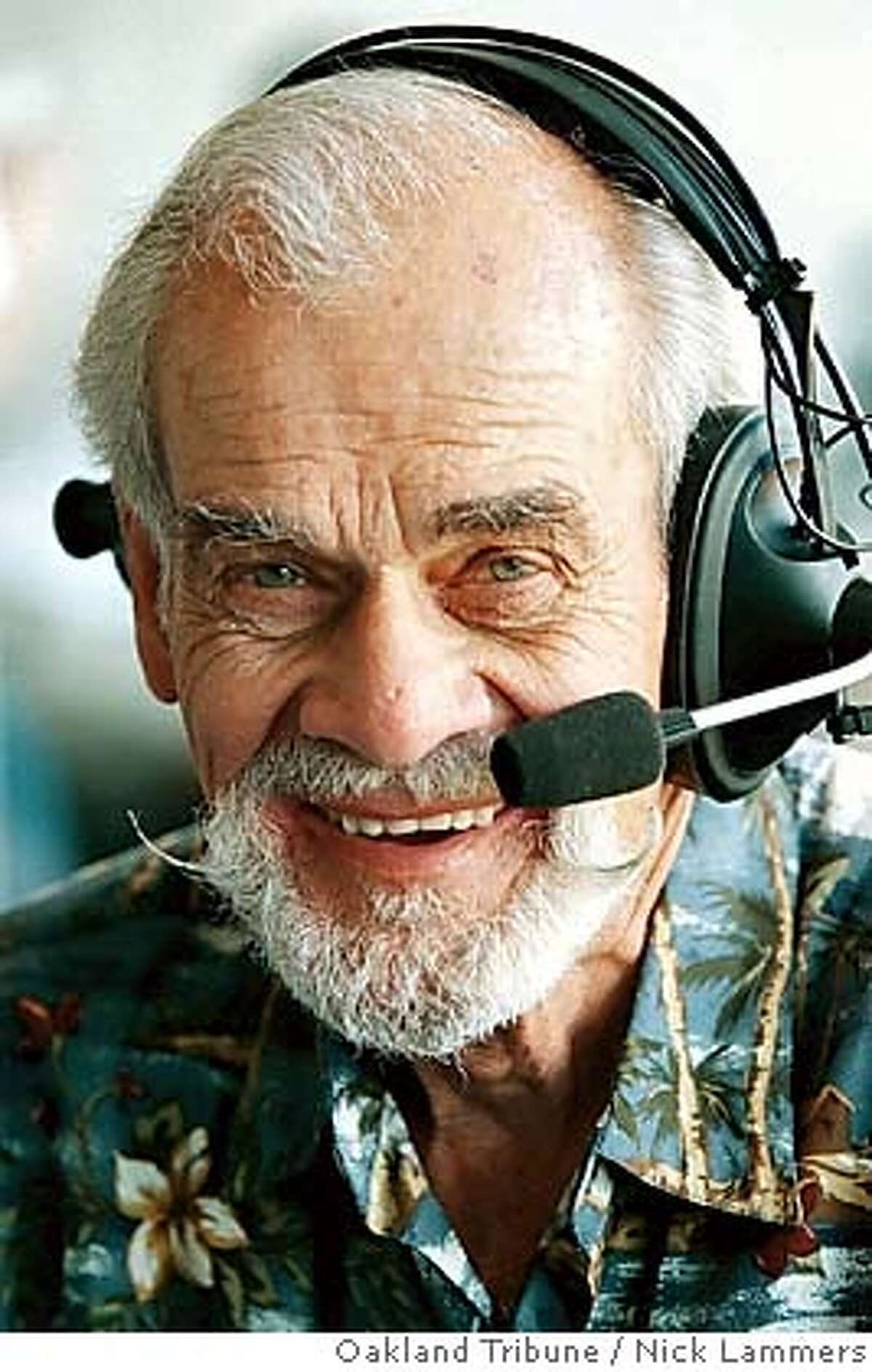 Longtime Oakland Athletics radio voice Bill King is shown in this photo taken Thursday, April 15, 1999, in Oakland Calif. King, whose signature call of