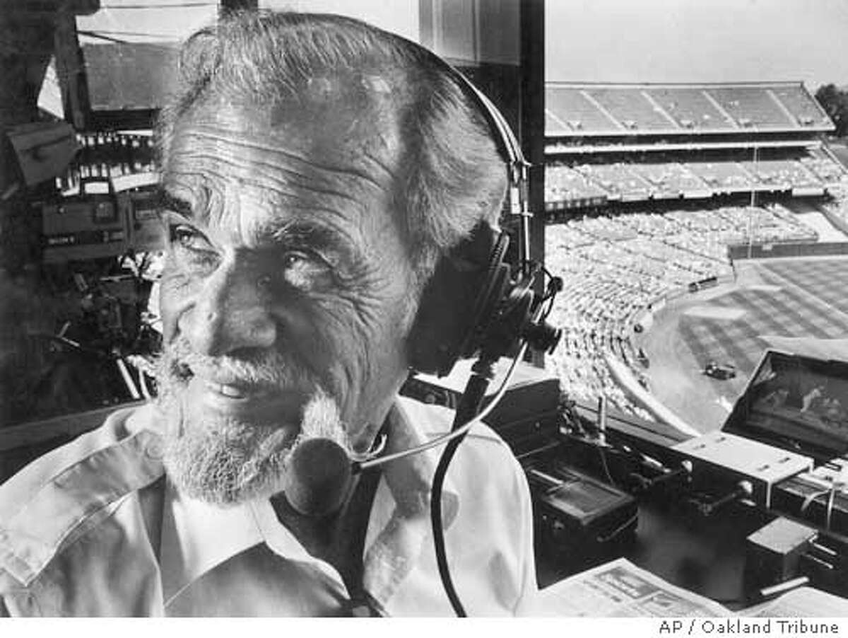 This is an undated photo of longtime Oakland Athletics radio voice Bill King. King, whose signature call of