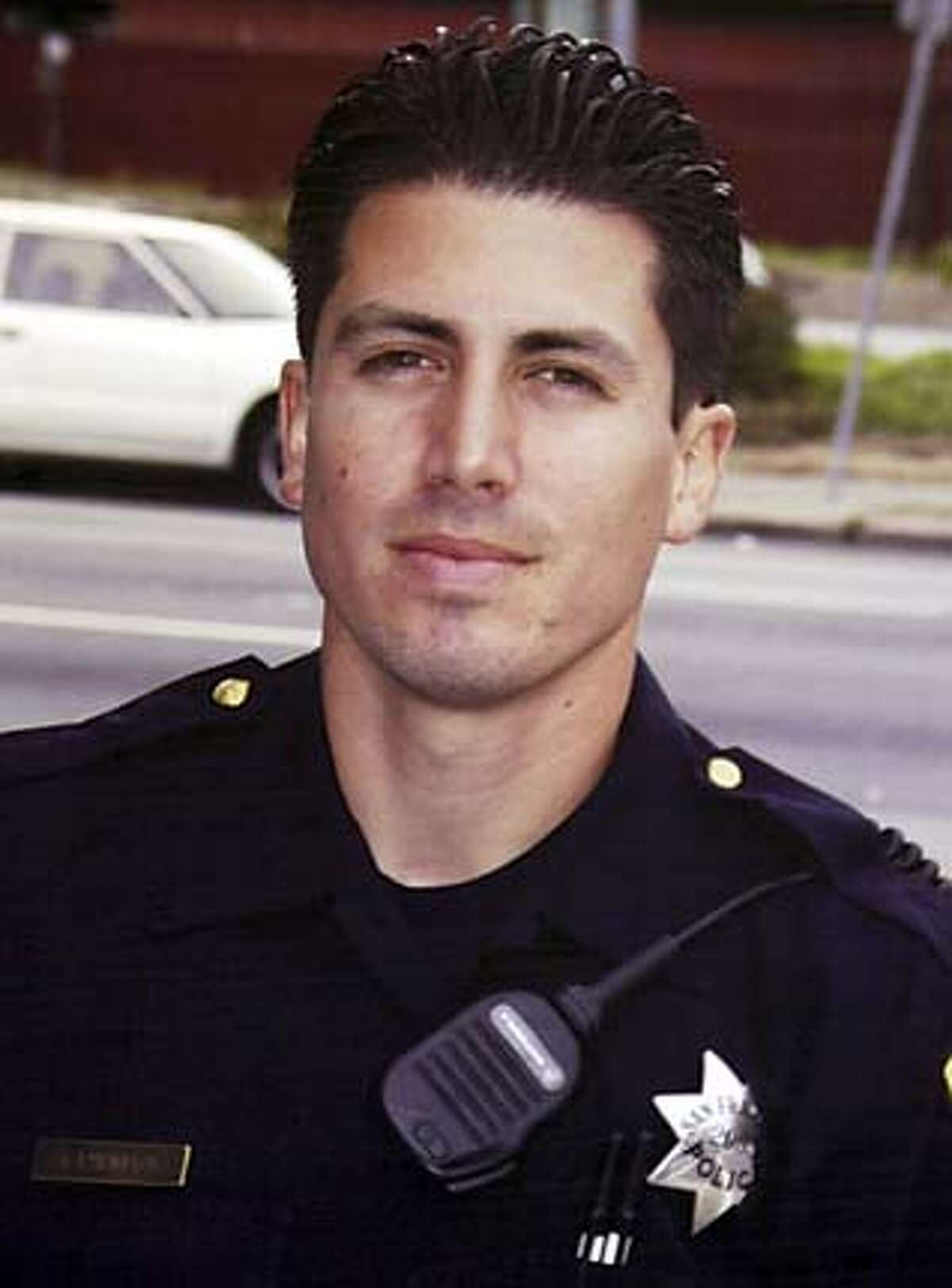 ** FILE **Undated photo of slain San Francisco Police Officer Isaac Espinoza, who was shot Sunday in the Hunterspoint Bayview area of San Francisco. Espinoza, 29, was working undercover in one of the city's most troubled neighborhoods late Saturday when he was shot twice. It was the first killing of an on-duty officer in San Francisco since 1994. (AP Photo/San Francisco Police Dept via The San Francisco Chronicle) Officer Isaac Espinoza was working undercover when he was shot twice and killed. ALSO RAN: 10/20/2006 ProductNameChronicle Ran on: 09-13-2004 Kamala Harris Ran on: 09-13-2004 Kamala Harris ALSO Ran on: 08-13-2006 Officer Isaac Espinoza Ran on: 10-16-2006 Isaac Espinoza Ran on: 10-17-2006 In his own words The prosecutor quoted from a number of David Hills writings: Hill boasted that he was a thugged out gang member livin the mob life. Digging graves is my thang, Hill wrote in one rap lyric. F -- da fed & cops! he wrote in another lyric. Im blowing up ya spot! Ran on: 10-19-2006 David Hills defense contends he thought the plainclothes officers were gang rivals when he shot them. Ran on: 10-20-2006 Isaac Espinoza UNDATED PHOTO; SAN FRANCISCO POLICE DEPT VIA THE SAN FRANCISCO CHRONICLE