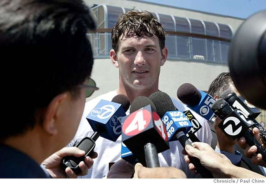 49ers_005_pc.jpg  Backup quarterback Ken Dorsey meets with sports reporters after practice to discuss the training video. San Francisco 49ers players and staff comment on the controversial training video at the team's headquarters on 6/1/05 in Santa Clara, Calif.  PAUL CHINN/The Chronicle ALSO:  Ran on: 08-01-2005, Ran on: 08-02-2005, Ran on: 8-03-2005, Ran on: 08-04-2005,Ran on: 08-05-2005  Ran on: 08-06-2005,,Ran on: 08-07-2005, Ran on: 08-09-2005, Ran on: 08-10-2005,Ran on: 08-11-2005, Ran on: 08-12-2005, Ran on: 08-13-2005, Ran on: 08-14-2005, Ran on: 08-16-2005, Ran on: 08-17-2005, Ran on: 08-19-2005, Ran on: 08-20-2005, Ran on: 08-21-2005 MANDATORY CREDIT FOR PHOTOG AND S.F. CHRONICLE/ - MAGS OUT Photo: PAUL CHINN