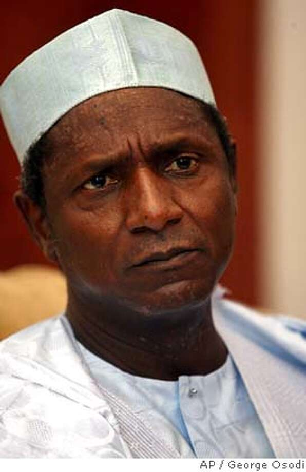 Umaru Yar'Adua, 65, a little-known state governor favored to win weekend presidential elections, is seen during an interview in Abuja, Nigeria, Friday March 30, 2007. A former military dictator, the current vice president and a state governor backed by the departing president have emerged as the top three candidates in Nigeria's troubled presidential elections scheduled for Saturday, April 21, 2007. (AP Photo/George Osodi) Photo: GEORGE OSODI