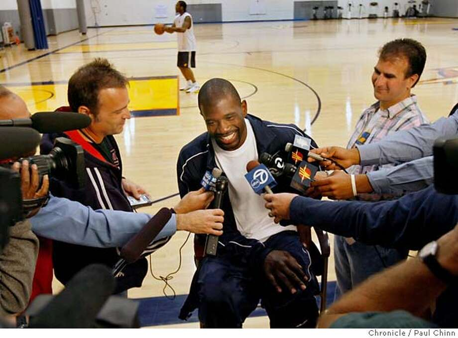 Jason Richardson meets with sportswriters at a news conference at the Golden State Warriors team headquarters and practice facility in Oakland, Calif. on Thursday, April 19, 2007. The Warriors square off against the Dallas Mavericks this Sunday in the first round of the playoffs after a 13-year absence in the post-season.  PAUL CHINN/The Chronicle  **Jason Richardson MANDATORY CREDIT FOR PHOTOGRAPHER AND S.F. CHRONICLE/NO SALES - MAGS OUT Photo: PAUL CHINN