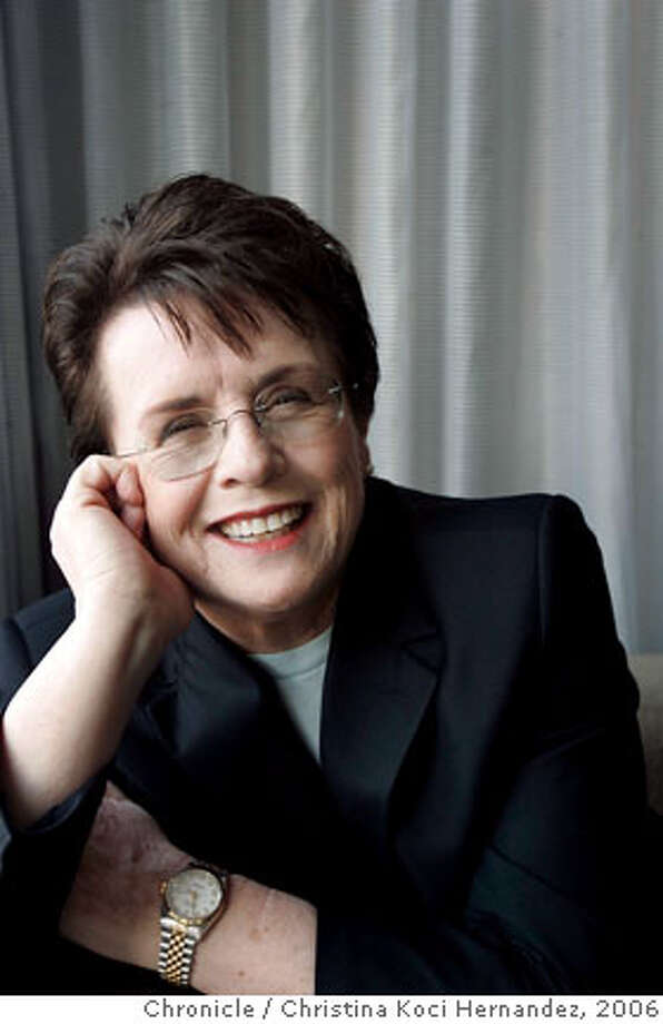 King interviewed at the hotel.Billie Jean King, the tennis legend, will be in town Thursday for an event with the GLBT Historical society, where she is getting an award. We are going to do an interview with her to run in the style section on Sunday, Oct. 8th. The story will be pegged around the interview and what she says, but most likely will focus on her role in history and the gay/lesbian community and her recent activities (including having the USTA Tennis Center in NYC named for her).(CHRISTINA KOCI HERNANDEZ/THE CHRONICLE) Ran on: 10-08-2006 Ran on: 10-08-2006 Ran on: 10-08-2006 Ran on: 10-08-2006 Ran on: 10-08-2006 Ran on: 10-08-2006 Photo: Christina Koci Hernandez
