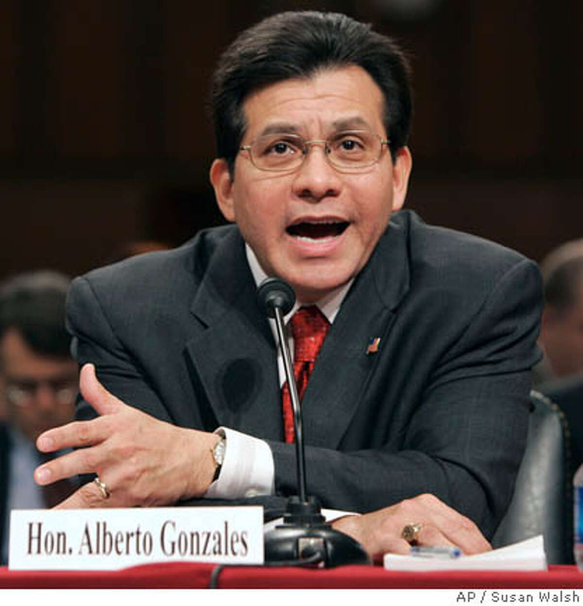 Attorney General Alberto Gonzales testifies before the Senate Judiciary Committee in the U. S. Capitol in Washington Thursday, April 19, 2007 about the controversial dismissal of eight U.S. attorneys. (AP Photo/Susan Walsh)