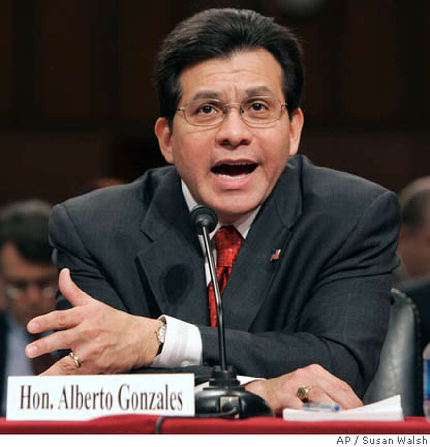 Attorney General Alberto Gonzales testifies before the Senate Judiciary Committee in the U. S. Capitol in Washington Thursday, April 19, 2007 about the controversial dismissal of eight U.S. attorneys. (AP Photo/Susan Walsh) Photo: SUSAN WALSH