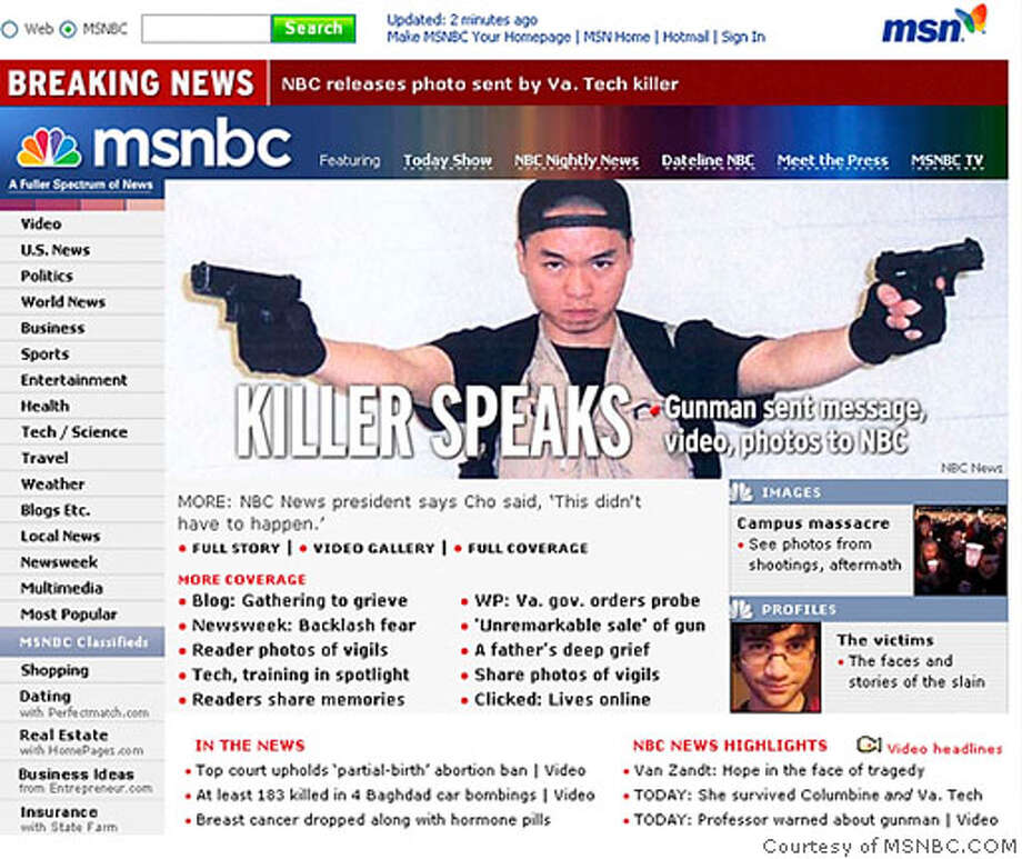 The front page of MSNBC.COM is seen after NBC News posted a picture they say was received from Cho Seung-Hui, the shooter in the Virginia Tech shootings, April 18, 2007. The gunman who went on a deadly rampage at Virginia Tech university this week paused between shootings to mail a rambling account of grievances, photos and videos to NBC, the network said. REUTERS/Courtesy of MSNBC.COM/Handout (UNITED STATES). EDITORIAL USE ONLY. NOT FOR SALE FOR MARKETING OR ADVERTISING CAMPAIGNS. NO ARCHIVES. NO SALES. Photo: HO