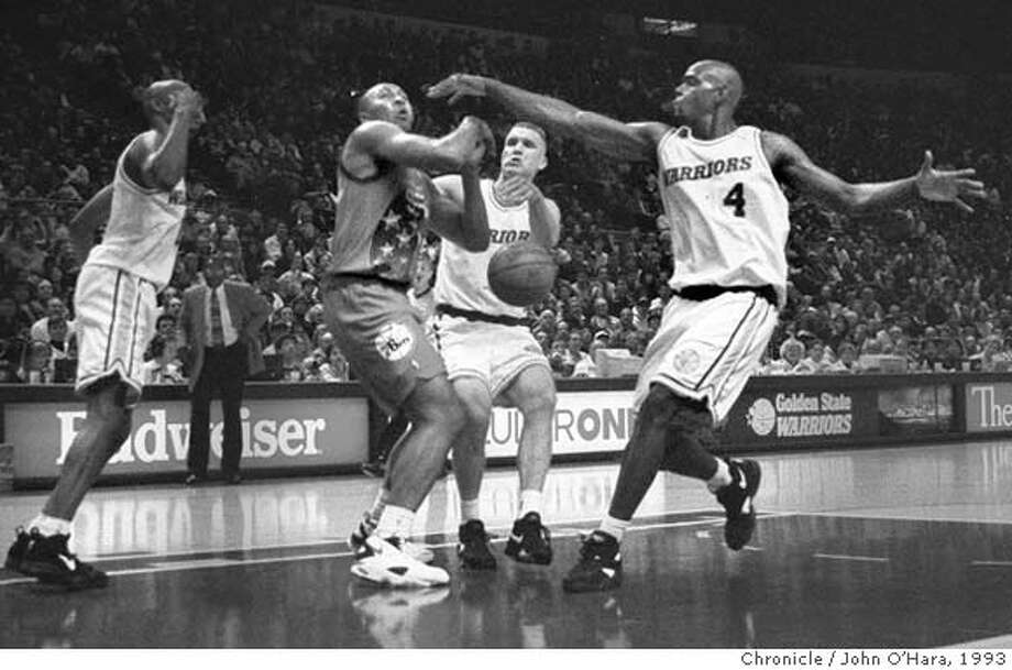 CHRONICLE 12/30/93 // 3STAR // WARRIORS CHRIS WEBBER (#4) STRIPPED BALL FROM 76ERS DANA BARROS WITH LATRELL SPREWELL & CHRIS MULLIN LOOKING ON  Ran on: 04-21-2007  Chris Webber (4), a rookie, along with Latrell Sprewell and Chris Mullin, embodied the Warrior's first-class talent 13 years ago.  Ran on: 04-21-2007  Chris Webber (4), a rookie, along with Latrell Sprewell and Chris Mullin, embodied the Warriors' first-class talent 13 years ago. Photo: JOHN O'HARA