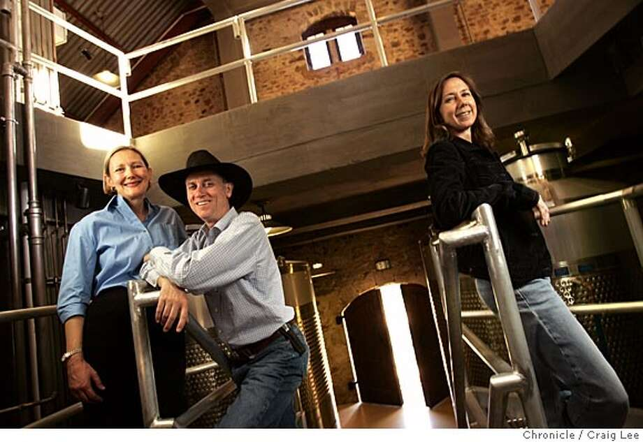 Wine cover story on the Howell Mountain appellation in Napa Valley. This is Ladera Vineyards winery and it's winemaker, Karen Culler (far right), and it's owners, Pat (middle) and Anne Stotesbery (far left). Event on 10/10/05 in Angwin. Craig Lee / The Chronicle Photo: Craig Lee