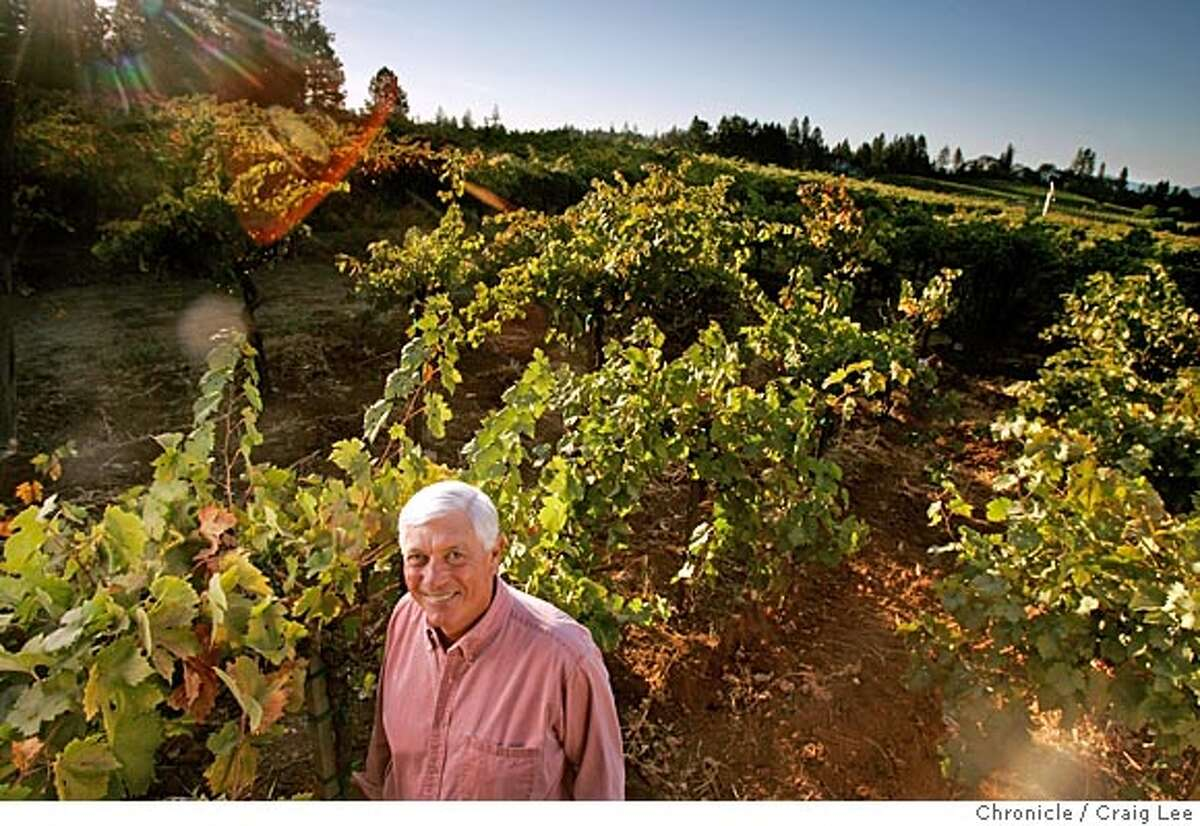 Wine cover story on the Howell Mountain appellation in Napa Valley. This is Mike Beatty, owner of Beatty Ranch Vineyard and co-owner of Howell Mountain Vineyards. Photo of Mike Beatty in his Beatty Ranch Vineyard, high above St. Helena in the Howell Mountain appellation. Event on 10/12/05 in Angwin. Craig Lee / The Chronicle