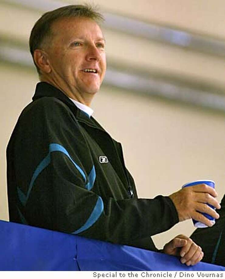 San Jose Sharks head coach Ron Wilson watches his team practice from a high vantage point at the Logitech Ice arena in San Jose. Photo by Dino Vournas/special to the Chronicle Photo: Dino Vournas