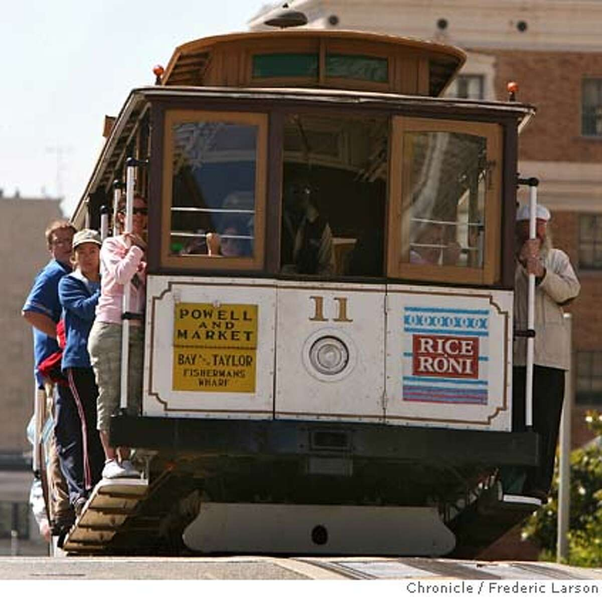 Cable cars at California and Powell are still a favorite of tourists, but fewer people are riding them and one of the chief reasons it cost $5. 8/30/06 {Frederic Larson/The Chronicle } MANDATORY CREDIT FOR PHOTOGRAPHER AND SAN FRANCISCO CHRONICLE/ -MAGS OUT
