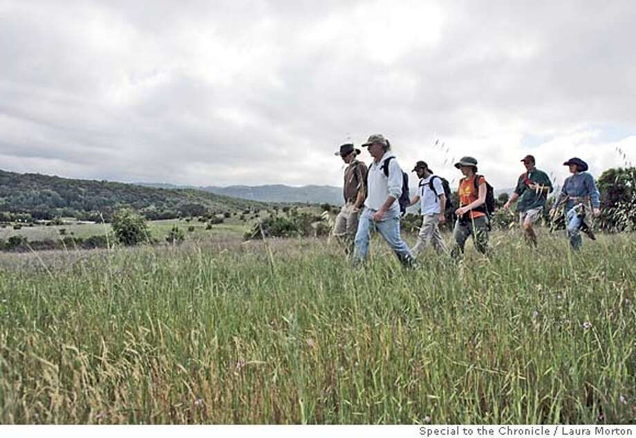 STANFORDPATH_00209_lkm.jpg A group of hikers including History faculty member Richard White (front right) and undergraduate Peter Wright (front left) work towards finishing the final leg of a 23 mile hike around the perimeter of Stanford University's 8,000 acre campus on Saturday. (Laura Morton/Special to the Chronicle) *** Richard White  *** Peter Wright 41391 Photo: Laura Morton