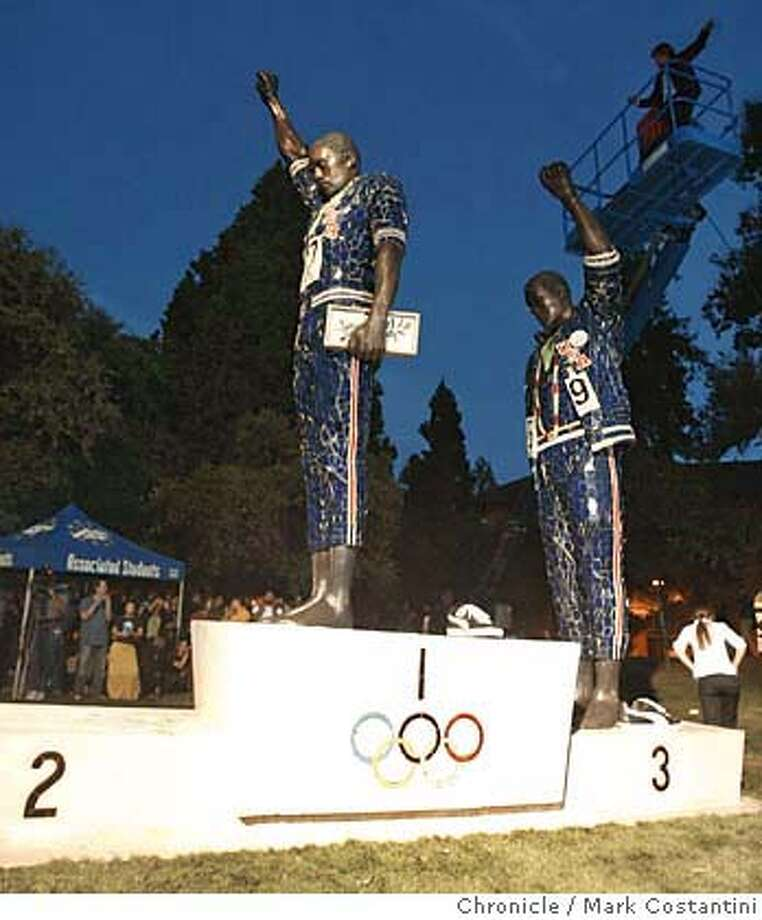 The statue.  San Jose State unveils 24-foot statue of Tommie Smith and John Carlos' protest on the medal stand at the 1968 Mexico City Olympics Smith, Carlos and Peter Norman, who was also on the medal stand, will be there. We'd like photos of them and of the statue. PHOTO: MARK COSTANTINI/S.F. CHRONICLE Photo: Mark Costantini