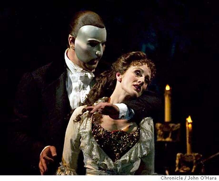 Phantom of the Opera, re-review. Phantom/Brad Little, Christine/Lisa Vroman, Raoul (boyfriend)/ Tim Martin Gleason.  note: publicist, allowed only first four songs and the fourth was the oly one with Phantom and christine.  photo/John O'Hara Photo: JOHN O'HARA