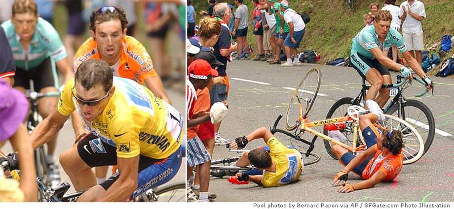 CRASH OF LANCE ARMSTRONG OF USA IN FIFTEENTH STAGE OF TOUR DE FRANCE Photo: POOL