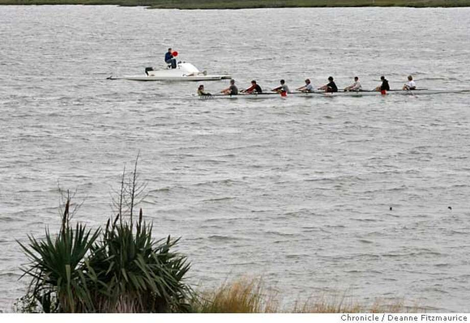 feature_004_df.jpg  A crew team practices in Corte Madera Creek in Marin County on a cool gray day. Photographed in Corte Madera on 4/19/07. Deanne Fitzmaurice / The Chronicle Ali Winkel Mandatory credit for photographer and San Francisco Chronicle. No Sales/Magazines out. Photo: Deanne Fitzmaurice